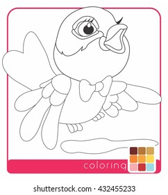 Beautiful Bird Baby Bird Coloring Pages Stock Vector Royalty Free 432455233