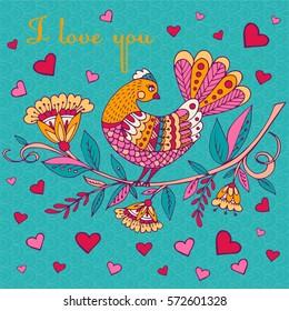 Beautiful bird in magical garden for coloring book