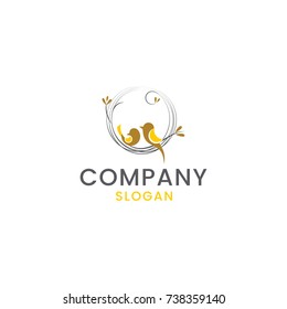 Beautiful birds sitting on the branch, nest logo, suitable for any business that reflects security and safety,corporate vector logo design template, isolated on a white background.