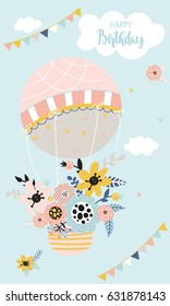 Beautiful birthday background with hot air balloon, flowers, clouds and flags on a blue background. Vector illustration.