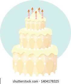 beautiful birthday cake for a birthday party, vector illustration