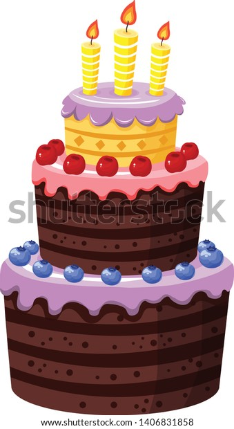 Groovy Beautiful Birthday Cake Vector Illustration Stock Vector Royalty Birthday Cards Printable Nowaargucafe Filternl