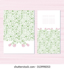 Beautiful birthday card, wedding invitation, anniversary. Congratulations. Template.Pink roses and green field. Sketch. Vintage.