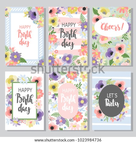 Beautiful Birthday Cards Design Collection Hand Stock Vector