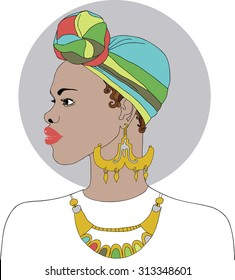 Beautiful black African American woman with earrings and necklace. Vector. Colorful