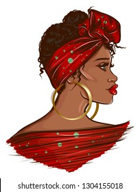 Beautiful Black Afro Woman illustration