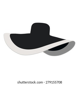 Beautiful, black  beach hat. Summer sun hat vector isolated. Floppy hat