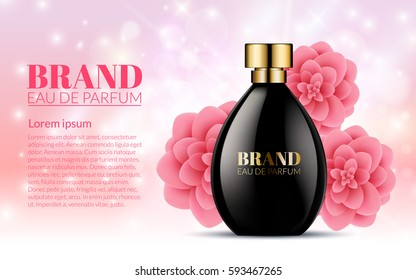 Beautiful Black Bottle Womens Perfume Products With Spring Pink Flowers on Blurred Light Bokeh Background. Aroma Liquid. Cosmetic Fragrance. Baner Template on your text. 3d Vector Illustration.