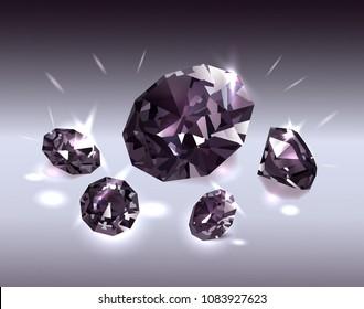 Beautiful black diamonds on a black background. Vector illustration.