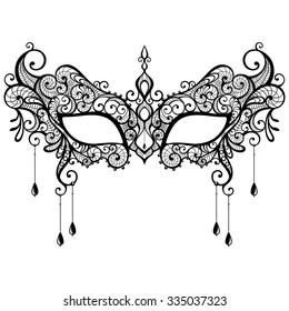 Beautiful Black Lace Masquerade Mask Isolated On White Background Vector Illustration