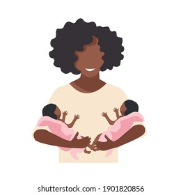 A beautiful black mother holds newborn twins in her arms. Happy twins mom. Flat vector illustration isolated on white background.