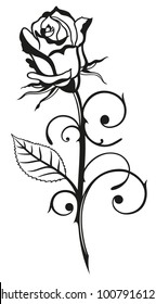 Beautiful black rose with leaf. Suitable for Valentines Day.