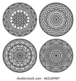 beautiful black simple orient mandala set on white background, round shape, four elements, vector illustration