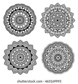 beautiful black simple orient mandala set on white background, indian motif, four elements, vector illustration