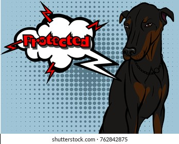 Beautiful black sitting dog Doberman talking Protected. The illustration in PopArt and retro style isolated on a blue background with dots.