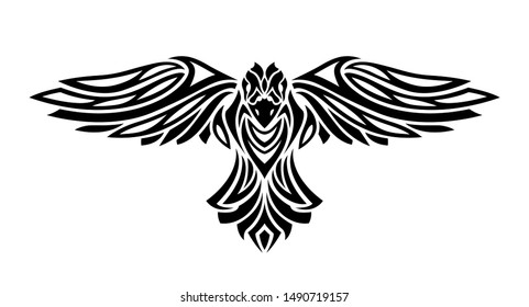 Beautiful black tattoo illustration with stylized flying raven silhouette on white background