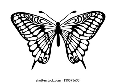 Beautiful black and white butterfly isolated on white. Many similarities to the author's profile