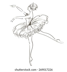 Beautiful black and white drawing ballerina on a white background,sketch,vector.