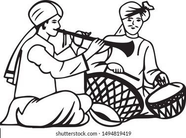 Beautiful black and white drawing two persons playing musical instruments of nadaswara and tabala or doll in a hindu wedding.