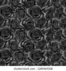 Beautiful black and white monochrome seamless pattern in roses with contours. Hand-drawn contour lines and strokes. Perfect for background greeting cards and invitations of the wedding or condolence