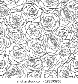 beautiful black and white seamless pattern in roses with contours. Hand-drawn contour lines and strokes. Perfect for background greeting cards and invitations of the wedding, birthday, Valentine's Day