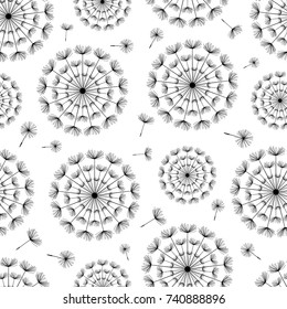 Beautiful black - white seamless pattern with stylized dandelion and flying fluff. Floral modern background with summer or spring flowers. Stylish trendy nature wallpaper. Vector illustration