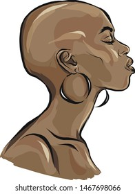 Beautiful black woman, african american. Female profile, a girl with a bald head and eyes closed. Long eyelashes, big mouth, large earrings. Brown tanned skin. Isolated vector.