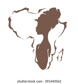 Beautiful black woman on the background of the continent Africa