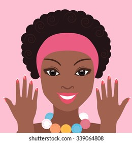 Beautiful black woman smiling with a manicure. Color illustration of choice for beauty salon and spa