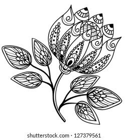 Beautiful black-and-white flower, hand drawing. Many similarities to the author's profile.