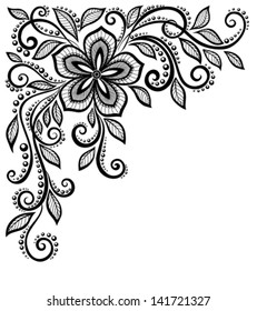 beautiful black-and-white lace flower in the corner. With space for your text and greetings. Many similarities in the profile of the artist
