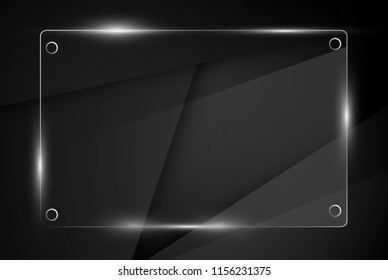 Beautiful blank shining glass banner on a black background