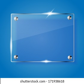 Beautiful blank shining glass banner on a blue background VECTOR