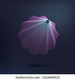 Beautiful blend shell on dark background. Blend shape like a ribbon. 3D star with lines for logo banners greeting card. Icon symbol star