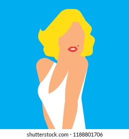 Beautiful blond woman portrait. Marilyn Vector illustration.