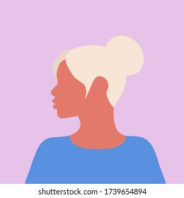 Beautiful blonde in blue clothes with a bun on her head on a white background. Blonde. The girl looks to the left. Vector illustration of a female face, portrait.