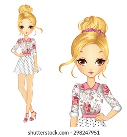 Beautiful blonde romantic syle girl