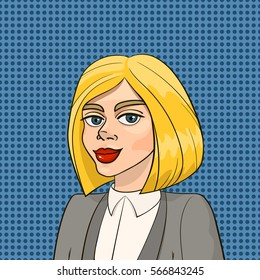 Beautiful blonde woman in business smart suit isolated on blue polka dot seamless background. Vector illustration in cartoon pop art style for advertising, posters, invitations, prints.