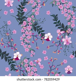 Beautiful blooming Floral pattern in the many kind of wild flowers. Botanical  Motifs scattered random. Seamless vector texture. For fashion prints in hand drawn style blue background.