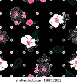 Beautiful blooming hibiscus flower mix with geometric daisy monimal repeat flower seamless pattern vector design for fashion,fabric,wallpaper,and all prints on black blackground