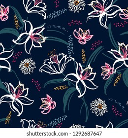 Beautiful  blooming lilly and garden flower Seamless pattern in vector hand brushed watercolor ,Hand painting design for fashion,fabric,wallpaper,web and all prints on navy blue background color