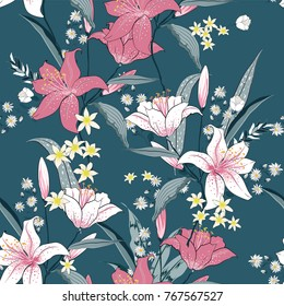 Beautiful blooming seamless pattern with white and pink Lilly. Hand drawing illustration on green background.