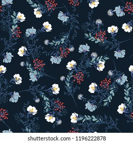 Beautiful Blossom  Floral pattern in the blooming botanical  Motifs scattered random. Seamless vector texture. For fashion prints. Printing with in hand drawn style on retro dark navy blue background