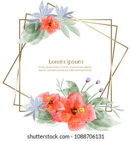 beautiful blossom flower watercolor painting element and frame or banner background