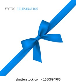 Beautiful blue bow with diagonally ribbon with shadow.