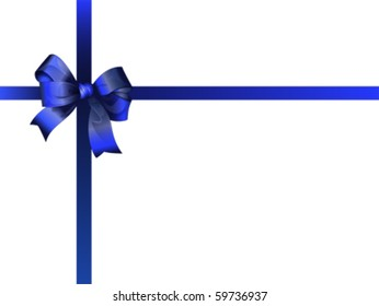 Beautiful blue bow and ribbon on the top of the gift box. Isolated on white, vector