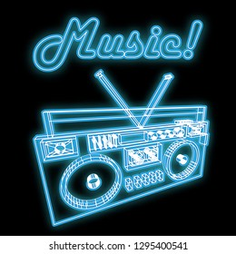 Beautiful blue bright glowing abstract neon sign in the form of an old retro vintage music cassette tape recorder of the 70s, 80s, 90s with the word music and copy space on a black background. Vector.