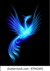Beautiful Blue Burning Phoenix. Illustration isolated over black background