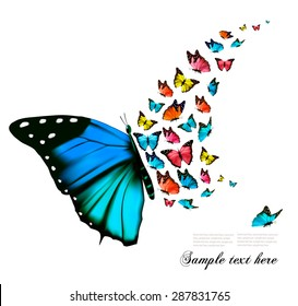 Beautiful blue butterfly background. Vector.