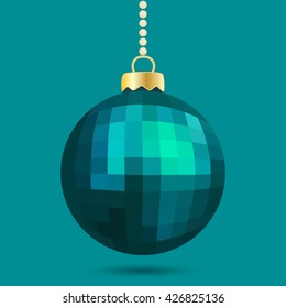 Beautiful blue Christmas bauble. Vector illustration.
